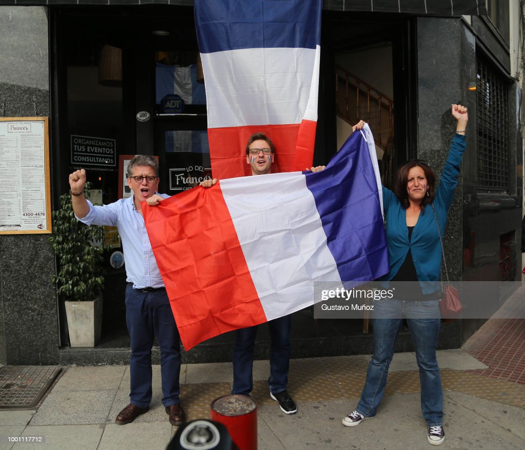 France Fans Gather To Watch World Cup Final Against Croatia in Buenos Aires