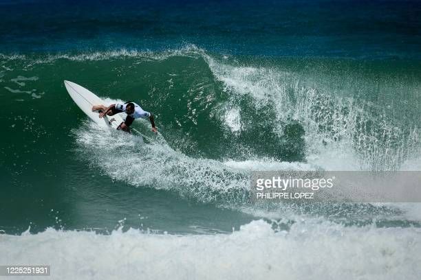 French surfer Joan Duru competes in the final round of the French Federation Cup in Hossegor on July 7 2020