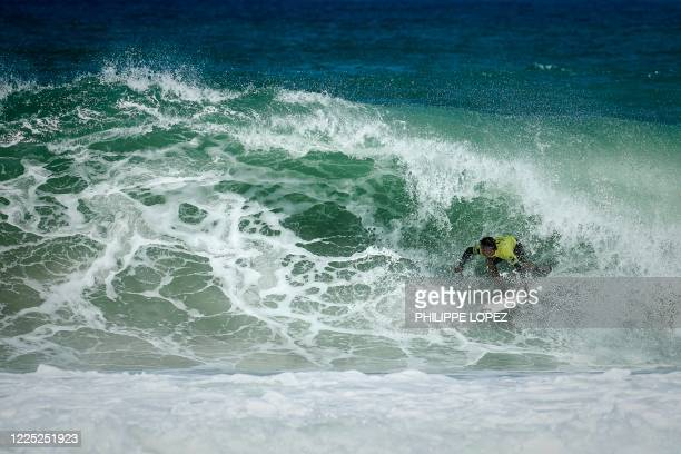 French surfer Kauli Vaast of Tahiti competes in the final round of the French Federation Cup in Hossegor on July 7 2020