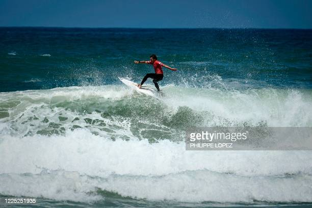 French surfer PaulCesar Distinguin competes in the final round of the French Federation Cup in Hossegor on July 7 2020