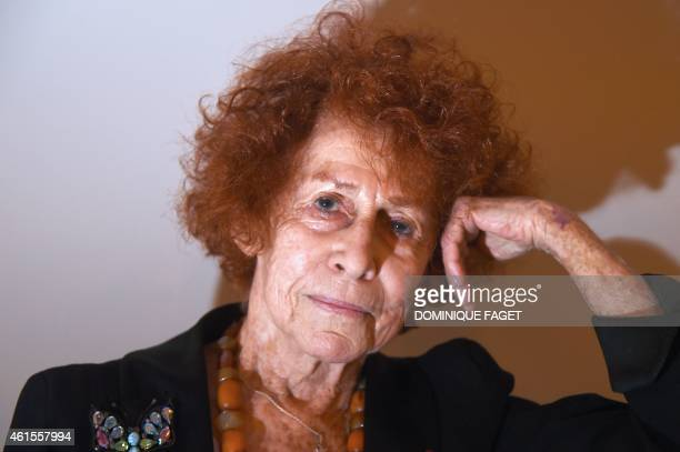 French survivor of the AuschwitzBirkenau camp Nazi concentration camp Marceline LoridanIvens poses in Paris on January 15 2015 before the...