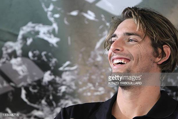 07851ed59bb1 French swimmer Camille Lacourt talks to journalists during a press  conference during the Arena Sprint Swimming