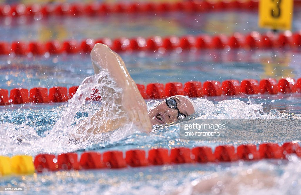 French swimmer Camille Muffat competes in the women's 200m freestyle series at the European short course Swimming Championships on November 25, 2012, in Chartres.