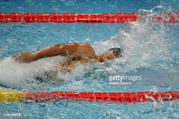 French swimmer Florent Manaudou of Energy Standard competes in the Men's 50m freestyle skin race during the day two of the second match of the...