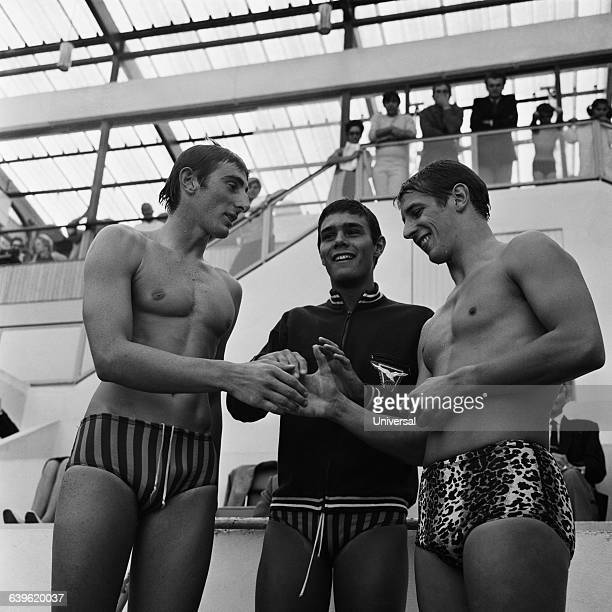 French swimmers Michel Rousseau Alain Mosconi and Francis Luyce