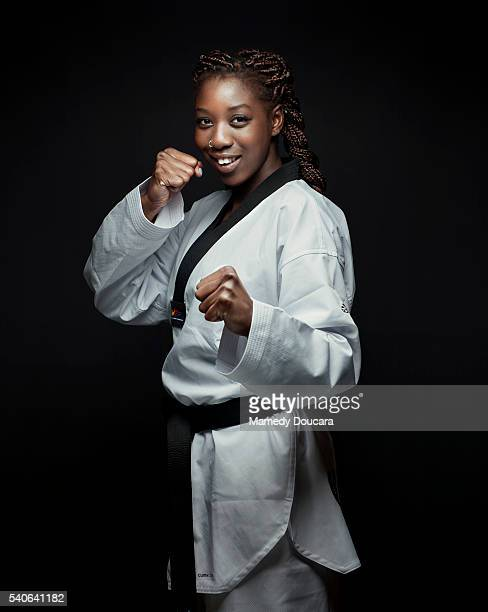 French taekwondo practitioner Haby Niare is photographed for Self Assignment on January 17 2016 in Paris France