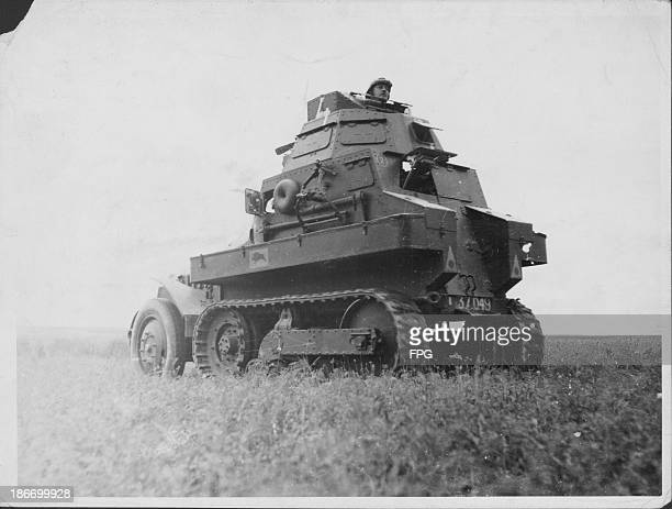 French tank in action during World War One, France, circa 1914-1919.