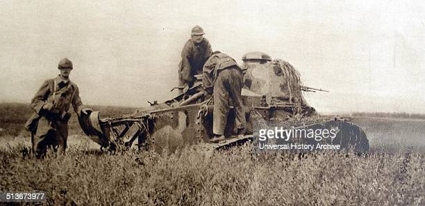 French Tanks advances during the second battle of the Marne, World war One.
