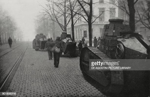 French tanks in the streets of Essen the Ruhr district occupied by the French Germany from L'Illustrazione Italiana Year L No 4 January 28 1923