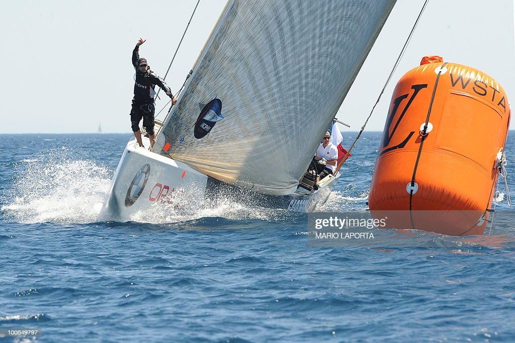 French team Aleph sails against Italian team Azzurra at the Louis Vuitton Trophy on May 24, 2010 at La Maddalena island in Sardinia. Ten teams battle it out over a two-week regatta begun on May 22 until June 6, 2010.
