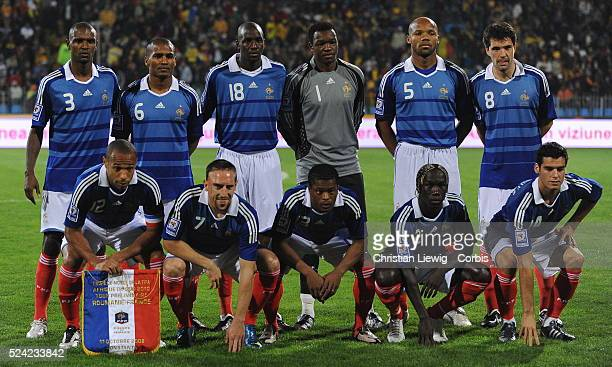French team before the FIFA World Cup 2010 Qualifying soccer match between Romania and France