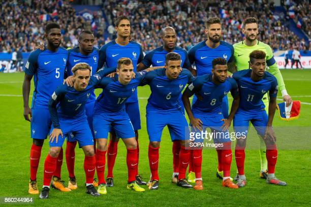 French team before the World Cup Group A qualifying soccer match between France and Belarus at Stade de France