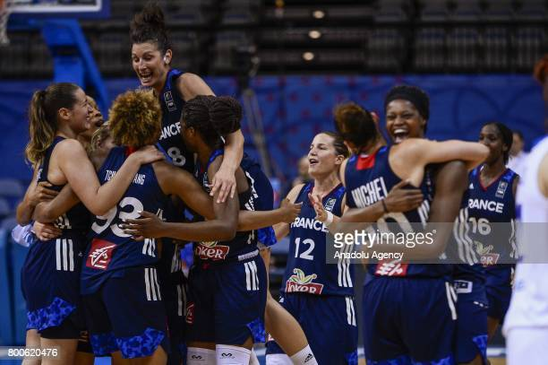 French team celebrate the victory after the 2017 FIBA EuroBasket Women's semifinal match between Greece and France O2 Arena Prague Czech Republic on...