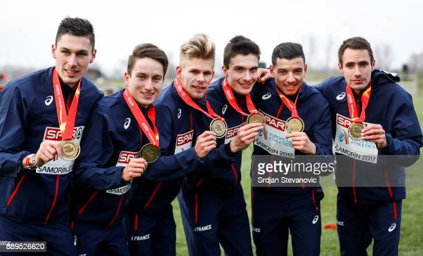 French team celebrate their Gold Medal during the U23 Men's award ceremony during the SPAR European Cross Country Championships on December 10 2017...