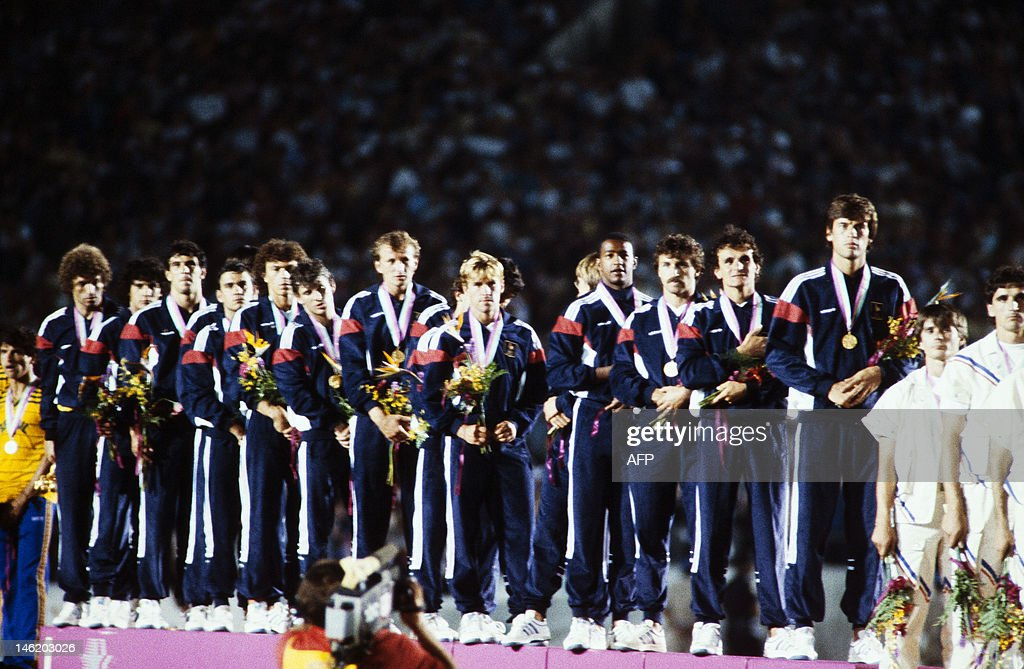 French team poses on the podium with the : News Photo