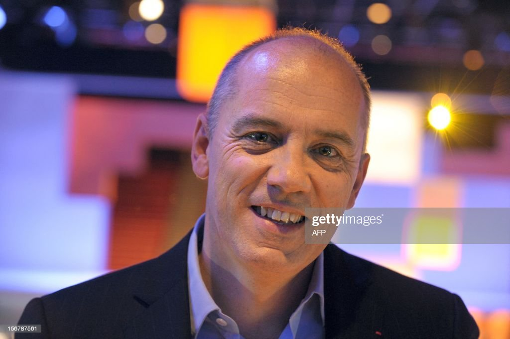 French telecom group Orange-France Telecom CEO, Stephane Richard arrives for a press conference to unveil telecom provider Orange latest innovations on November 21, 2012 in Saint-Denis, suburbs of Paris. Richard annouced that the super-fast 4G mobile Internet service will be available for companies on November 22 in the French cities Lyon, Nantes and Lille.