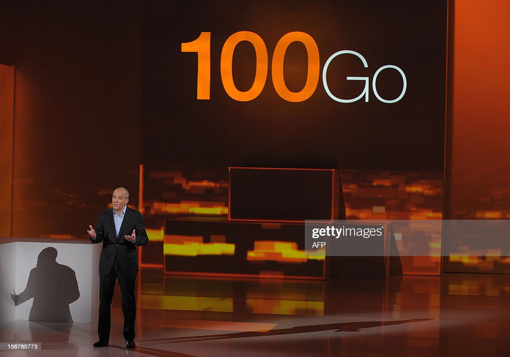 French telecom group Orange-France Telecom CEO, Stephane Richard speaks during a press conference to unveil telecom provider Orange latest innovations on November 21, 2012 in Saint-Denis, suburbs of Paris.
