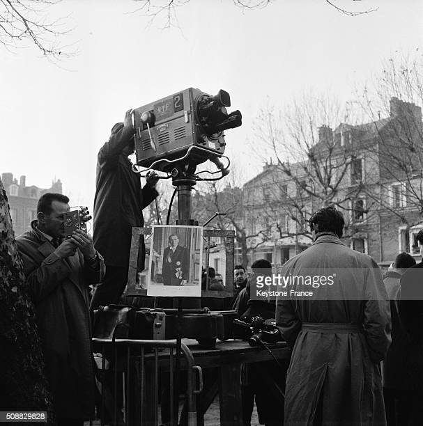 French Television At the Funeral Of Former French President René Coty in Le Havre France on November 27 1962