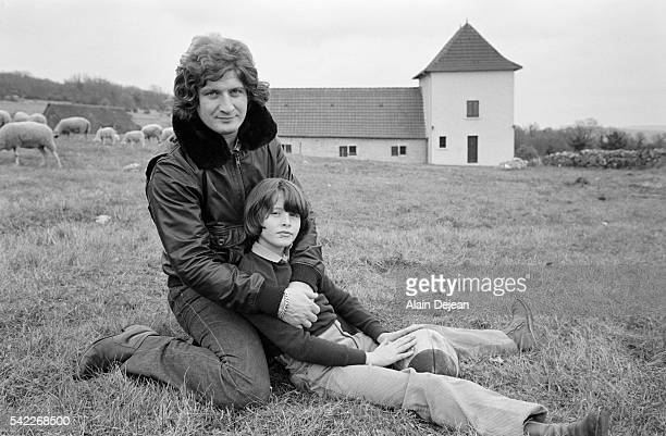 French television host Patrick Sebastien and his 10 yearold son Sebastien in the countryside outside Brive