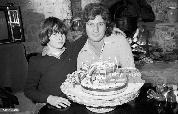 French television host Patrick Sebastien celebrates the 10th birthday of his son Sebastien