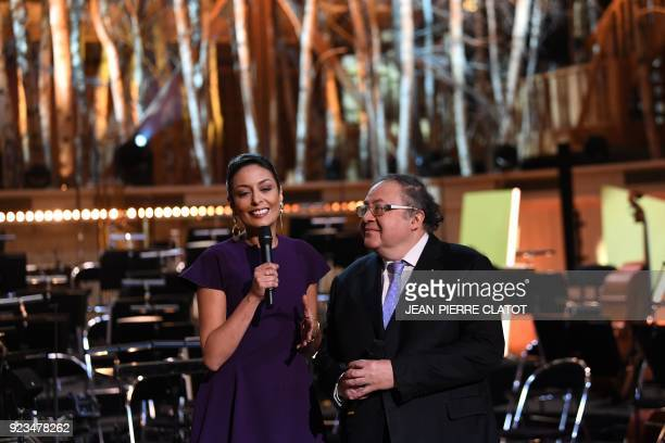 French television personality Leïla Kaddour and musician Frédéric Lodéon pose ahead of the 'Victoire de la musique classique' award ceremony at The...