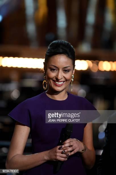 French television personality Leïla Kaddour poses ahead of the 'Victoire de la musique classique' award ceremony at The Grange au Lac Auditorium in...