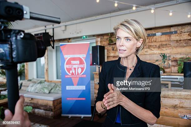 French Television Presenter and Food Critic Julie Andrieu speaks to the media during the launch of the 7th edition of the initiative 'Tous au...