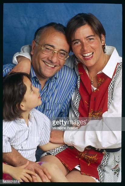 French television presenter journalist and parttime actor Yves Mourousi with his wife Veronique and daughter Sophie