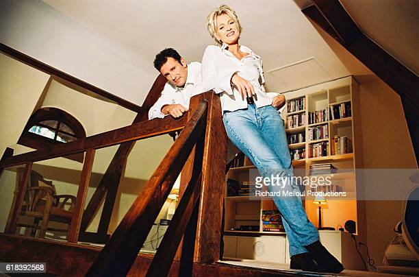 French television presenter Sophie Davant and sports presenter husband Pierre Sled enjoy some spare time in their Normandy home.