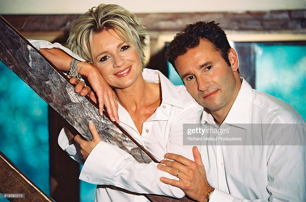 French TV Presenter Couple Sophie Davant and Pierre Sled : News Photo