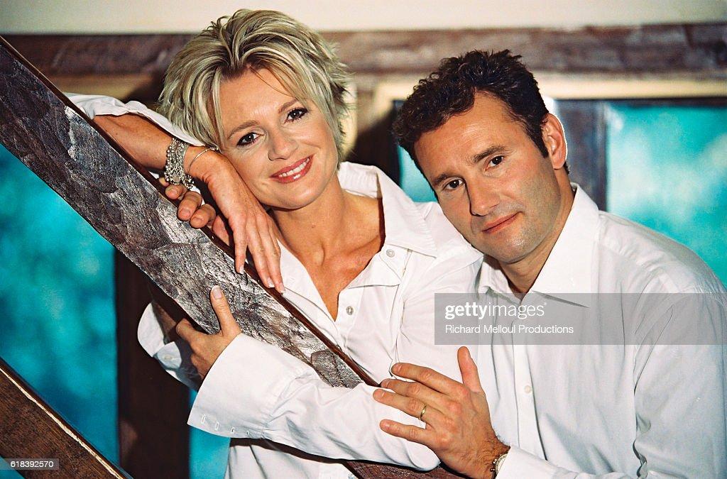 French TV Presenter Couple Sophie Davant and Pierre Sled : Photo d'actualité