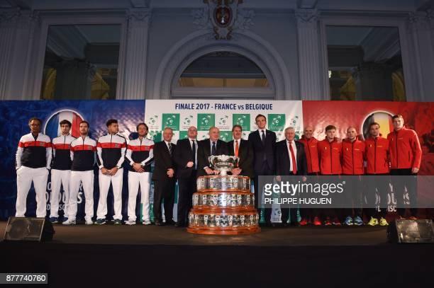 French tennis federation Bernard Giudicelli poses with France's team captain Yannick Noah PierreHugues Herbert Richard Gasquet JoWilfried Tsonga and...