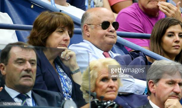 French Tennis Federation FFT President Bernard Giudicelli and his wife attend the men's semifinals on day 12 of the 2018 tennis US Open on Arthur...