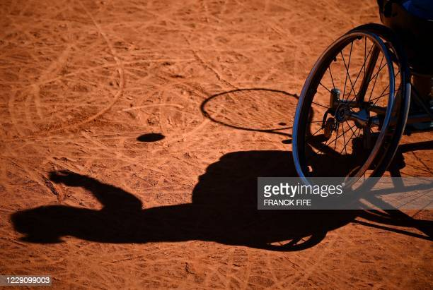 French tennis para athlete Pauline Deroulede gets ready to serves during the 4rd edition of the French Riviera Open wheelchair tennis tournament at...