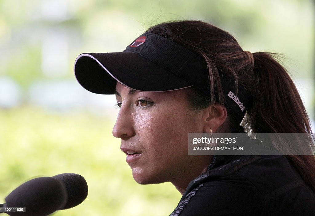 French tennis player Aravane Rezai gives a press conference on May 21, 2010 at Roland-Garros tennis stadium in Paris, two days ahead of the French Open, the second Grand Slam tournament of the season. For Roger Federer, Rafael Nadal, Serena Williams and Maria Sharapova, the French Open starts on May 23, 2010.