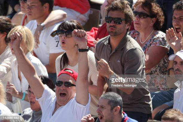 French tennis player Arnaud Clement with his girlfriend french Singer Nolwenn Leroy attend the Davis Cup Quarterfinals on on April 8 2012 in Monaco...
