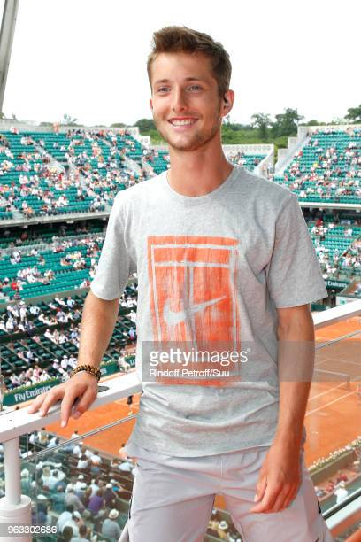 French Tennis player Corentin Moutet poses at France Television french chanel studio during the 2018 French Open - Day Two at Roland Garros on May...