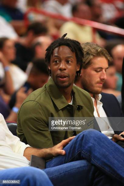 French tennis player Gael Monfils attends a basketball game between the Miami Heat and the Golden State Warriors at American Airlines Arena on...