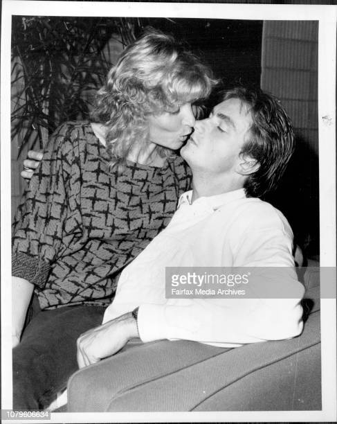 French Tennis player Henry Leconte with his Pregnant wife Bridgitte in the players room at entertainment centre He is playing in the custom credit...