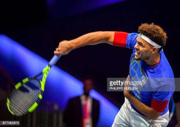 French tennis player JoWilfried Tsonga attends a training session on November 22 2017 at the PierreMauroy stadium in Villeneuve d'Ascq ahead of the...