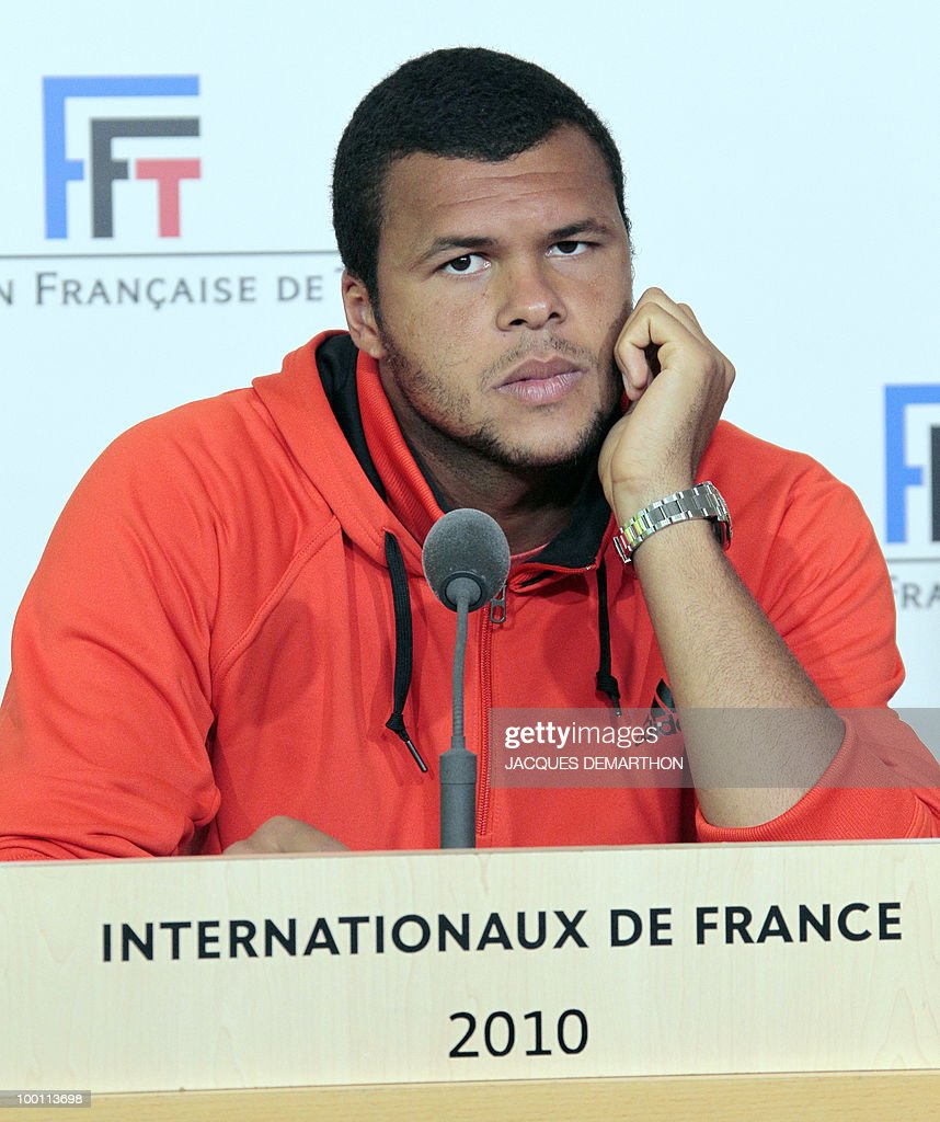 French tennis player Jo-Wilfried Tsonga gestures during a press conference on May 21, 2010 at Roland-Garros tennis stadium in Paris, two days ahead of the French Open, the second Grand Slam tournament of the season. Jo-Wilfried Tsonga will face German Daniel brands for his first match.