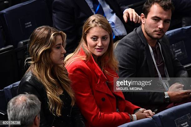 French tennis player Kristina Mladenovic attends second round tennis match between France's Richard Gasquet and USA's Steve Johnson at the ATP World...