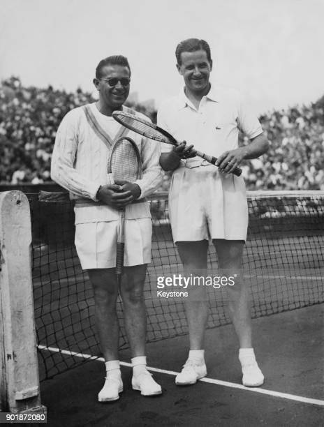French tennis player Marcel Bernard and Czech player Jaroslav Drobny before their Davis Cup match at the Roland Garros stadium in Paris France 11th...