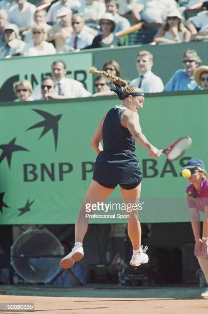 French tennis player Mary Pierce pictured in action competing to reach and win the final of the Women's singles tournament at the 2000 French Open at...