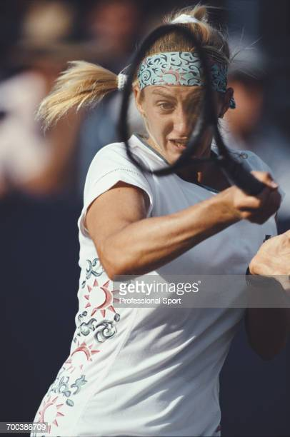 French tennis player Mary Pierce pictured in action during competition to reach the quarterfinals of the 1994 US Open Women's singles tennis...