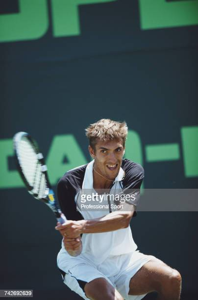 French tennis player Nicolas Escude pictured in action during progress to reach the third round of the Men's Singles tennis tournament at the 2002...