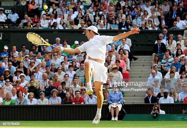 French tennis player Richard Gasquet pictured in action against Andy Murray of Great Britain in the fourth round of the Men's Singles tournament at...