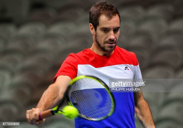 French tennis player Richard Gasquet practices during a training session on November 21 2017 at the PierreMauroy stadium in Villeneuve d'Ascq ahead...