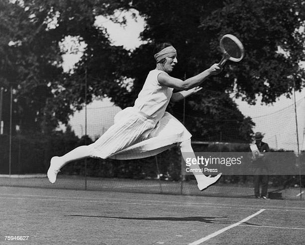 French tennis player Suzanne Lenglen competing at Wimbledon, 1926.