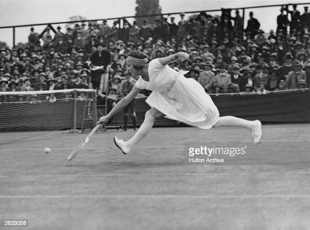 French tennis player Suzanne Lenglen in action at Wimbledon.